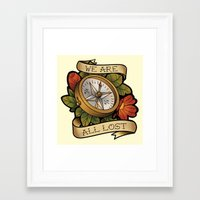 compass Framed Art Prints featuring Compass by hvelge