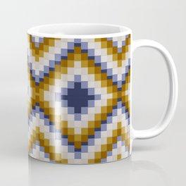 Patchwork pattern - sand and blue Coffee Mug