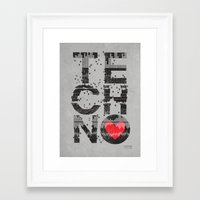 paramore Framed Art Prints featuring I love Techno by Sitchko Igor