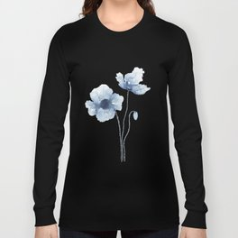 Blue Watercolor Poppies Long Sleeve T-shirt
