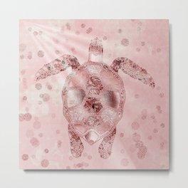 Glamour Turtle Rose Gold Metal Print