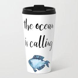 The ocean is calling / blue fish watercolor Travel Mug