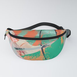 Mid-Century Green & Orange Abstract Fanny Pack