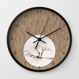 Scots Pine Paper Bag Sepia Wall Clock