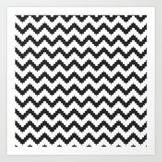 Funky chevron - black Art Print