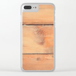 Wooden ship board with nails and screws Clear iPhone Case