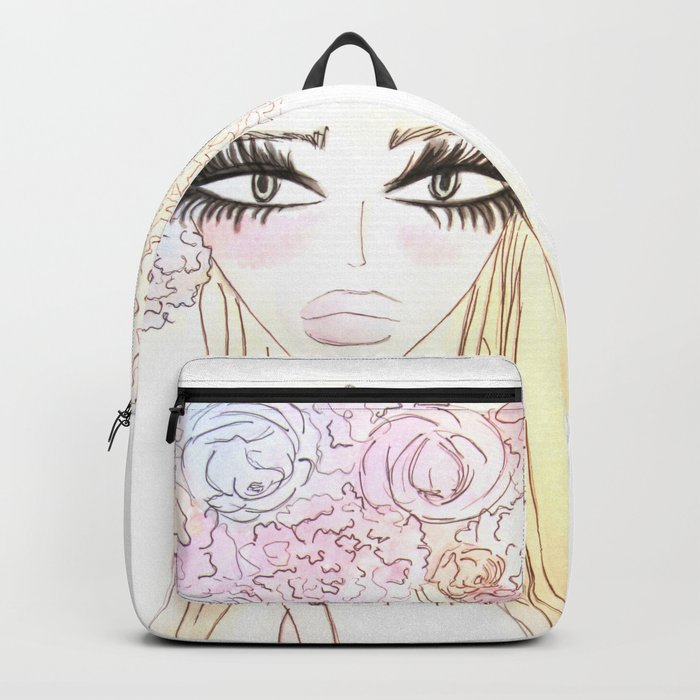 Floral girl Portrait Backpack