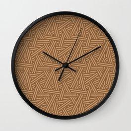 Interweaving lines in brown Wall Clock