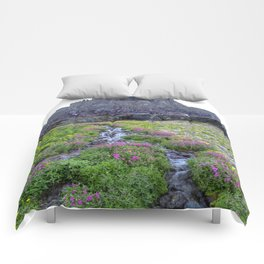 Mountain Wildflowers Lined Stream Comforters