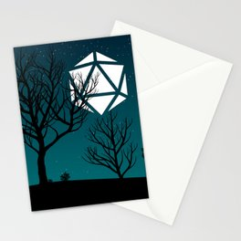 Starry Night Forest D20 Dice Moon Stationery Cards