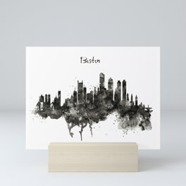 Boston Skyline Black and White Mini Art Print