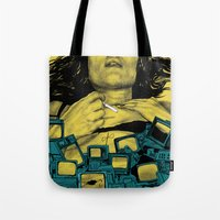 in the flesh Tote Bags featuring New Flesh by Maritsa Patrinos