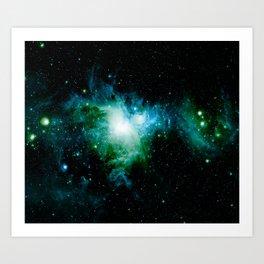 Orion Nebula Blue Turquoise Green Art Print