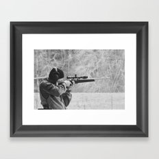 Young Shooter-B&W Framed Art Print