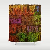 hippie Shower Curtains featuring Hippie by BLOOP
