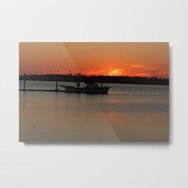 Fishing Boat at Sunset Metal Print