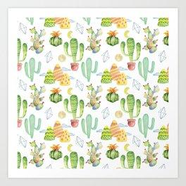 Modern green yellow geometric watercolor cactus pattern Art Print
