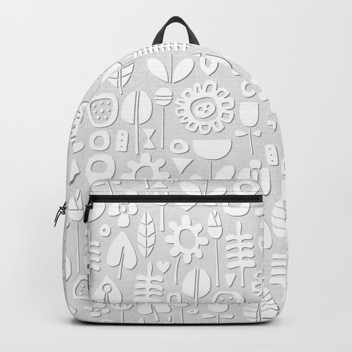 paper cut flowers white silver Backpack