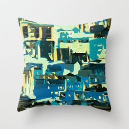 blue yellow green and dark blue geometric graffiti painting abstract background Throw Pillow