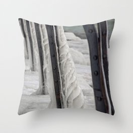 Ice Formation Catwalk Support South Haven Pier Lake Michigan Winter Throw Pillow