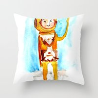 scuba Throw Pillows featuring Scuba by Leah Rose Buckman