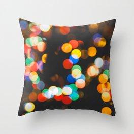 Christmas lights bokeh Throw Pillow