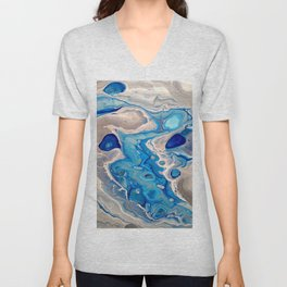 Blue and Silver Fluid Abstract - Silver Lining Unisex V-Neck