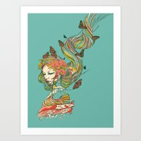geisha Art Prints featuring Geisha by Huebucket