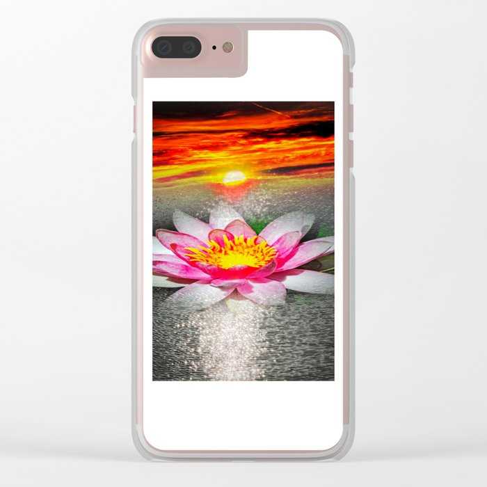 Wellness Water Lily 5 Clear iPhone Case