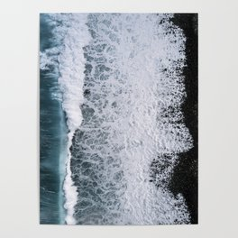 Aerial of a Black Sand Beach with Waves - Oceanscape Poster