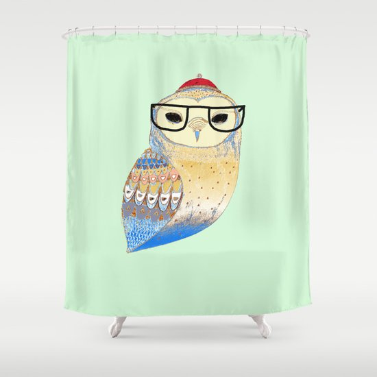 hipster owl Shower Curtain