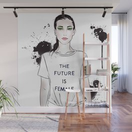 Beautiful woman with strong message t-shirt The Future is Female Wall Mural