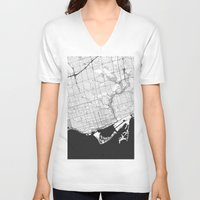 toronto V-neck T-shirts featuring Toronto Map Gray by City Art Posters