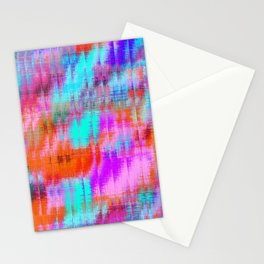 psychedelic geometric painting texture abstract background in pink blue orange purple Stationery Cards