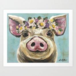 Pig Art, Flower Crown Pig, Farm Animal Art Print
