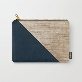 Geometric Navy and Wood Carry-All Pouch