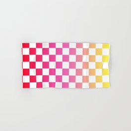 Pink Yellow Checkerboard Gradient Hand & Bath Towel