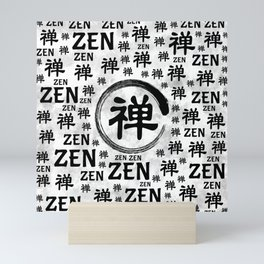 Enzo Circle and Zen symbol and word pattern Mini Art Print