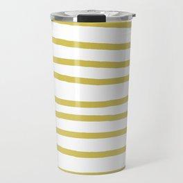 Simply Drawn Stripes Mod Yellow on White Travel Mug