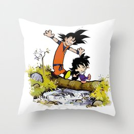 Goku and Gohan Throw Pillow