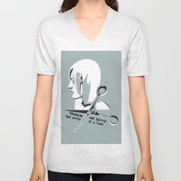 Changing the world one haircut at a time Unisex V-Neck