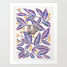 Happy Sloth – Tropical Indigo Leaves Art Print