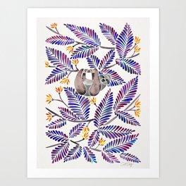 Happy Sloth – Tropical Indigo Leaves Art Print
