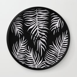 Fern Pattern Black And White Wall Clock