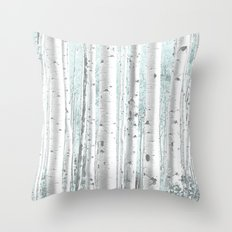 Pale Birch and Blue Throw Pillow