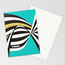 THINK! – Wavy Stripes on Luxury Blue Stationery Cards