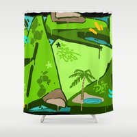 oasis Shower Curtains featuring OASIS by clogtwo
