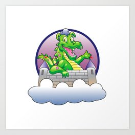 Illustration dragon and castle Art Print