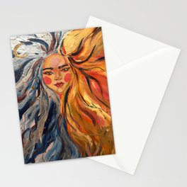 sun and moon goddess ice and fire Stationery Cards