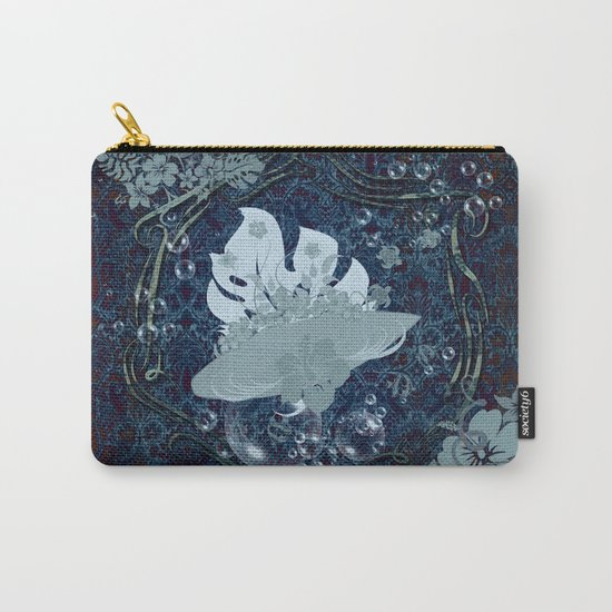 Surfing, surfboard with flowers Carry-All Pouch